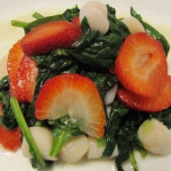 Spinach Salad with Scallop and Strawberry in Lemon and Pineapple Vinaigrette