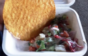 Halibut ceviche with tostada