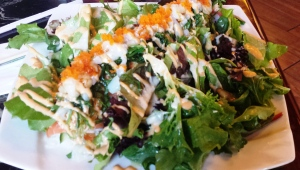 Japanese fusion garden salad - when East meets West. Somewhere in America.
