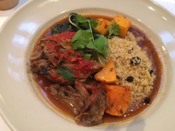Dal Porto Ranch lamb tagine with roasted butternut squash, chard, couscous, and harissa The delightfully fresh aroma tells it all. Can you tell the wonderful fusion style?