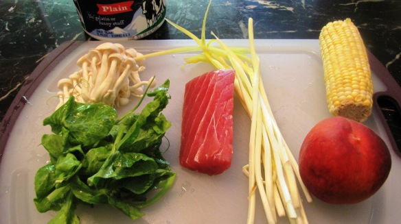 - One fresh peach - About 1/3 pound of tuna fillet - One cob of corn - About 1 ounce of beech mushroom - About 1 to 2 ounces of yellow chive - About 1 to 2 ounces of sweet pea leaves - 1 to 2 cups of plain yogurt - cooking wine - salt
