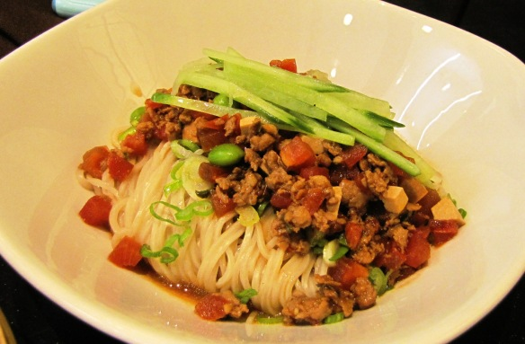"""Noodles with Minced Pork Sauce"" – love the luscious aroma."