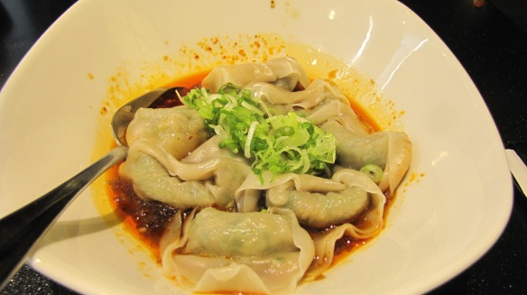 """Vegetable and Pork Wonton with Spicy Sauce"" – love the robust taste."