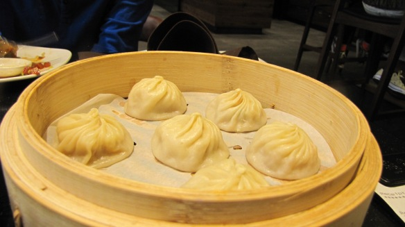"""Snow Crab & Pork XiaoLong Bao"" – love the exotic flavor under the delicate dough skin."