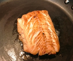 Add the sablefish fillet to a heated pan, and turn heat to medium-low. Cook for about 5 minutes or when both sides turn golden brown.