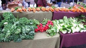 Radishes, kale, carrots, bok choy