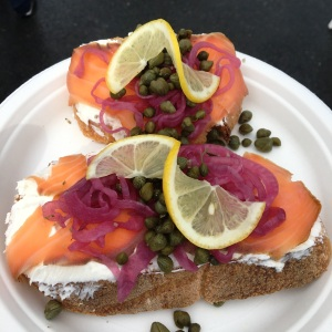 Salmon Lox, a great snack from a vendor