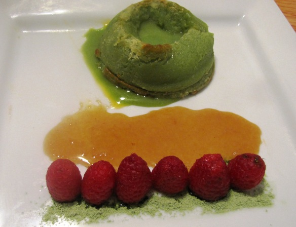 Flip the ramekin -- the matcha green tea lava cake is here!
