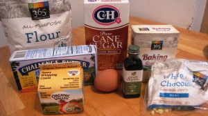 Flour, brown sugar, butter, white chocolate, vanilla extract, egg, baking soda, etc.